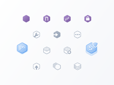 Hexicons heroku pipelines apps hexagons icons