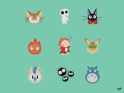 Miyazaki characters ponyo procreateapp haru jiji totoro calcifer miyazaki ghibli procreate illustration
