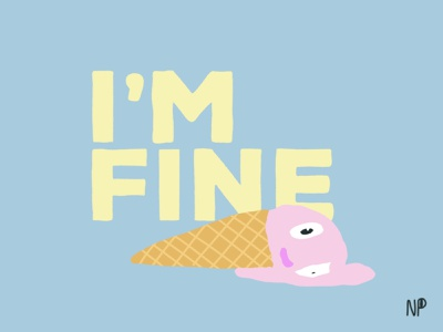 I'm fine... depression social life melting icecream colorful illustration procreate pandemic covid19