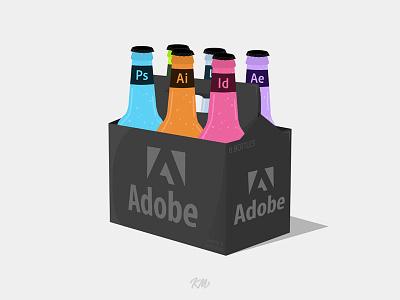 Adobe 6-pack adobe illustration soda beer vector stroke after effects lightroom dreamweaver illustrator indesign photoshop adobe illustration