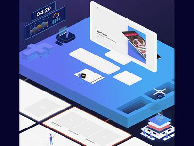 Design is a team sport workspace desk isometric illustration