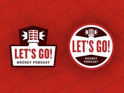 Let's Go! Hockey Podcast logo lets go lights goal hockey logo