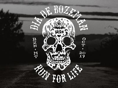 Dia de Bozeman run day of the dead skull lettering illustration