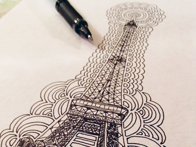 Eiffel tower drawing meditation by kaitlyn parker dribbble kpdesign dm eiffeltower 2014 inprogress altavistaventures Choice Image