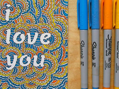 I Love You Drawing Meditation pattern abstract typography illustration drawing meditation drawing love