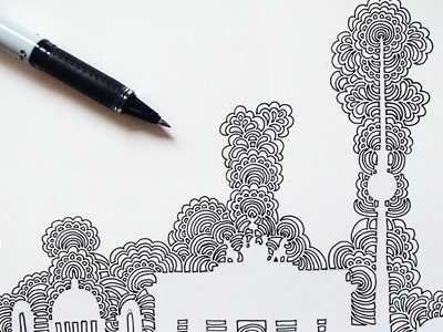 Berlin Skyline Drawing Meditation pattern abstract skyline berlin design drawing ink pen illustration