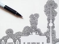 Berlin Skyline Drawing Meditation
