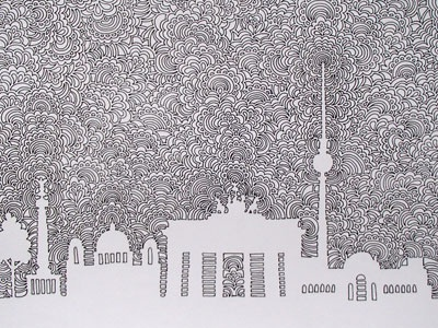 Berlin Skyline Drawing Meditation city life pattern abstract illustration drawing meditation drawing skyline berlin