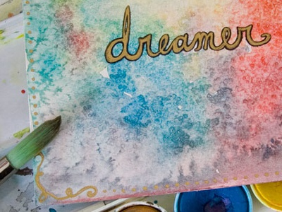 Dreamer art rainbow color text dreamer typography watercolor paint