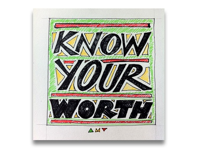 """Know Your Worth"" wip sketchbook quote positive affirmation typography lettering"