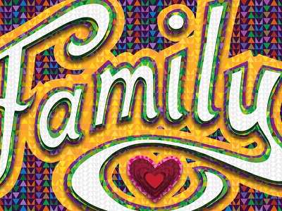 Colourful family positive affirmation typography lettering