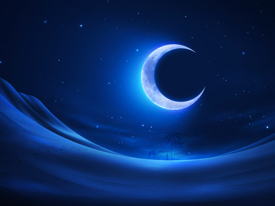 Ramadan Lunar Wallpaper desert moon sand stars sky night
