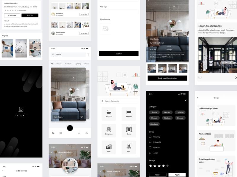 Interior Design app - Decorly decorly decor interior design interior house mobile app design mobile ux uipractice