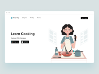Web header - Recipe king foodie learn food and drink mobile app web logo recipe card cooking recipe book recipe app chef food recipe