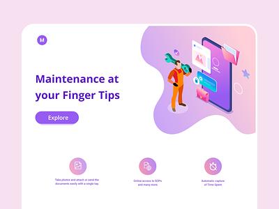 Maintenance app - Web design engineer technician work inventory management offline mobile app web design inventory service maintenance web mobile logo