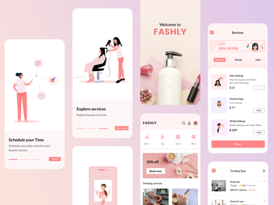 FASHLY - concept app booking app mobile mobile app facial saloon hair spa service red style logo fashion
