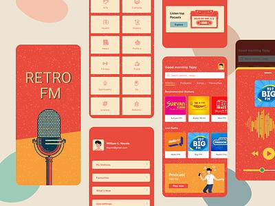 FM app concept - RETRO FM retro app design podcast audio app music app fm app mobile app mobile