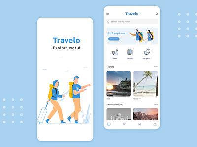 Travelo  -  Travel app travel agency adventure explorer hotel booking places hotel app explore travel app travel