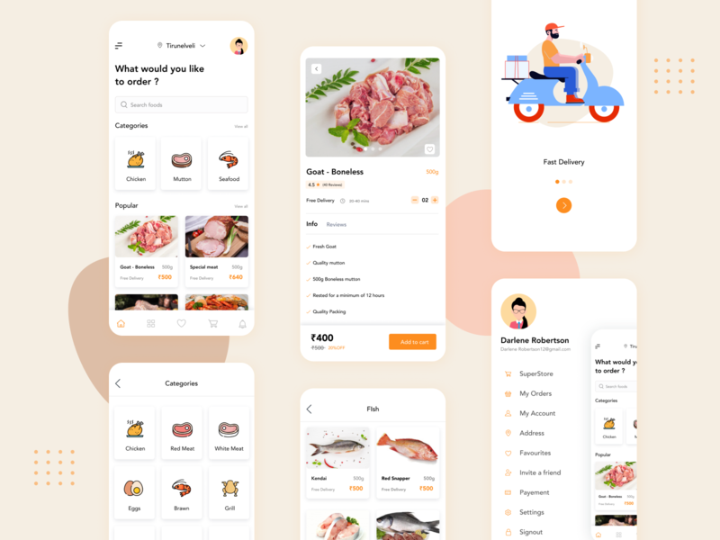 Delivery app - Meatstore order management delivery logo delivery status delivery app seafood fishes chicken meat food mobile app