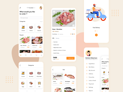 Delivery app - Meatstore order management delivery logo delivery status delivery app seafood fishes chicken meat food mobile app