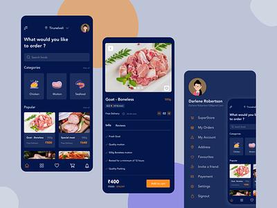 Meatstore - Delivery app ( Darkmode ) booking mobile ui deliveryapp meat meatapp uidesign dark mobileapp darkmode