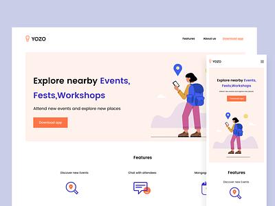 Events app landing page booking places explore web app landing page landingpage web header mobile events app festival meet events