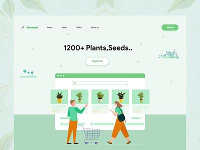 PlantMall -  Web Header webheader web design mobile environment soil seed plants app shopping green planting sell buy plants tree plant