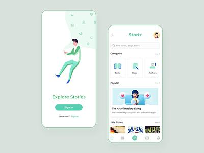 Story app - STORIZ mobile app reading app books app bookstore medium blogs books story story app storybook