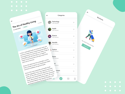 Story app2 - STORIZ storiz ux mobile app quora medium books health posts stories blog mobileapp story