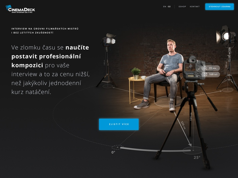 CinemaDeck product site - Hero image product page model cameraman moviemaker interview scene dark ui website hero image cinemadeck infographics photographer web design webdesign graphic design