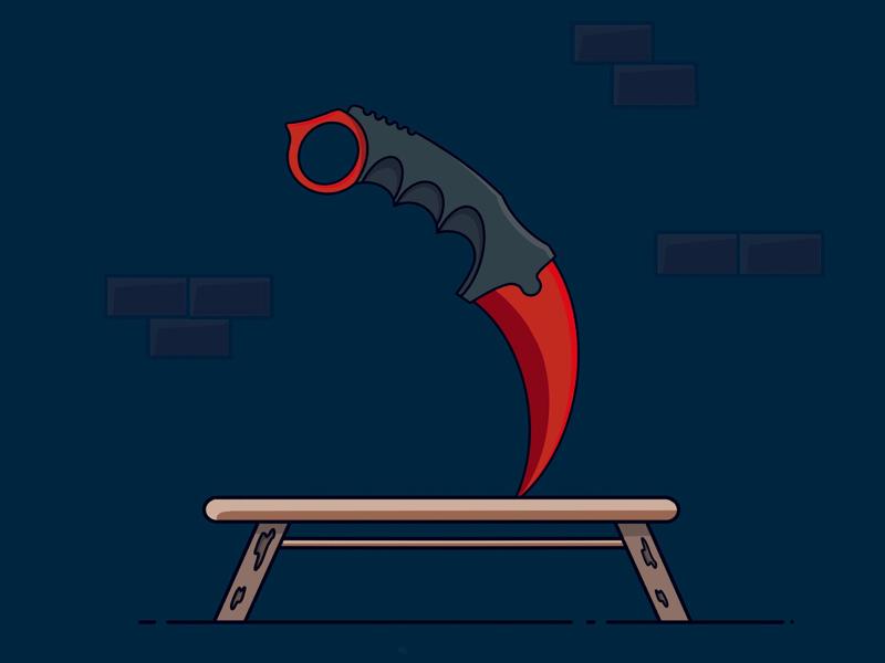 Karambit Crimson Web logo design icon iconography illustration csgo