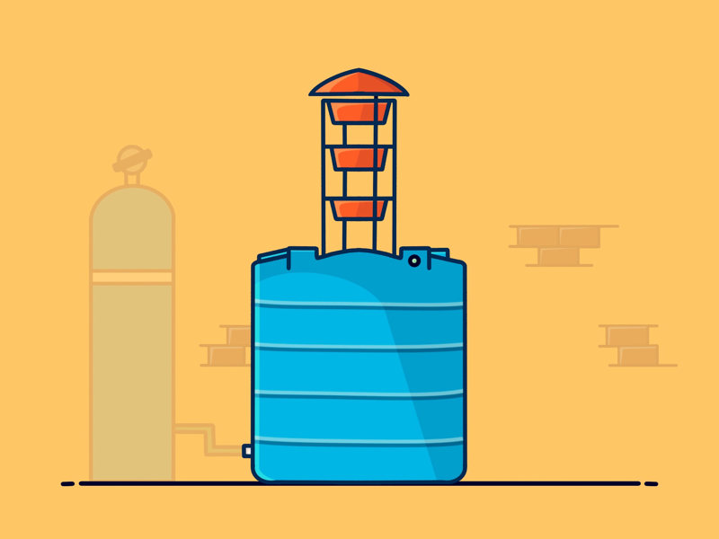 Water tank design designer icon illustration