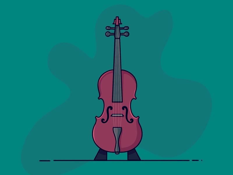 Violin music fun colors icon design illustrator illustration