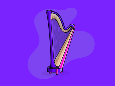 Harp colorful icon logo illustrator illustration