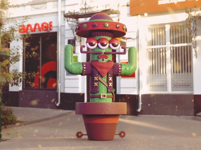 West Cactus mexico awesome colorful inspiration creative character design art design oc digitalart mrolds cute 3d art illustrator character west cactus