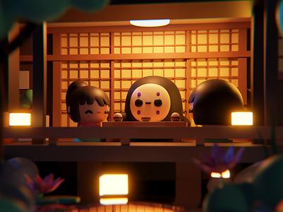 VDI September: Studio Ghibli cycles blender ghibli fanart environment inspiration cute creative illustration 3d