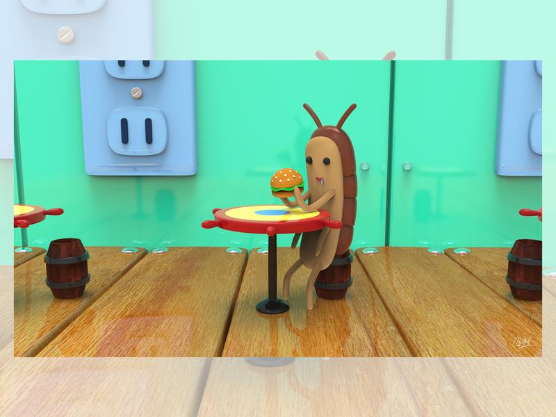 A Cangreburger of Squearepants Spongebob maya render artist creative picture arte 3d art deisgn mrolds digitalart cute 3dart 3d ilustración illustration insect vdi viernesdeilustracion cangreburguer spongebob