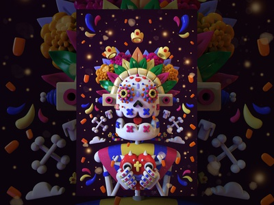 November 2. Day of the Deaths awesome photoshop creative render inspiration maya digitalart mrolds cute 3dart 3d digital illustration ilustracion character tradition mexican exhibition skull diademuertos