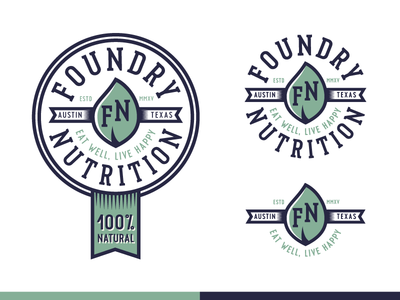 Foundry Nutrition Variations  logodesign logo patch badge sticker health healthy food eating austin natural branding