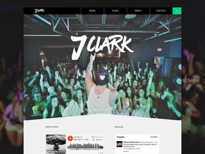 J.Clark Landing page musician artist music web design minimal website landingpage webdesign dark slider ui flat
