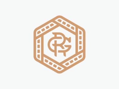 RobGFilm mark stamp austin videography video film monogram gold identity mark branding logo design