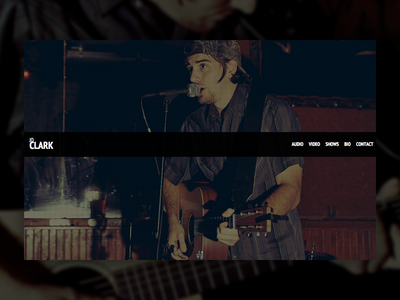 JD Clark landing page austin ui css photo manipulation guitar musician music landing page webdesign