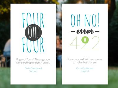 404, 422, Error web app mobile mockup 404 422 page error