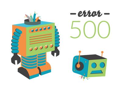 Error 500 broken vector machine robot character page illustration error 500 404 web webdesign