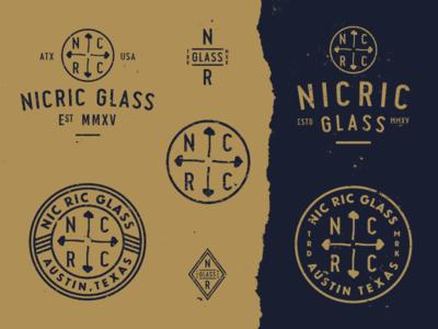 NicRic Glass mark mushroom gold austin glass pipes stamp branding badge patch logo