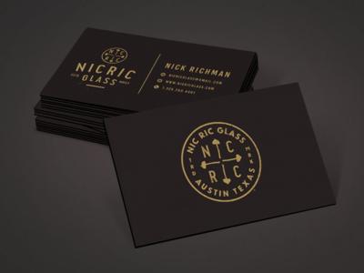NicRic Glass cards mockup shroom mushroom gold black card business layout print logo
