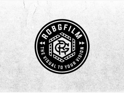 RobGFilm badge badge monogram stamp branding film austin videographer video videography patch logo