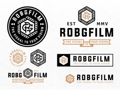 RobGFilm Identity gold videography video film logo design branding identity typography stamp logo patch badge