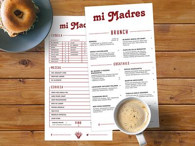 Mi Madres Cocktail / Brunch Menu wine brunch beer tequila branding typography drinks food bar mexican food cocktail bar menu menu design menu resturant
