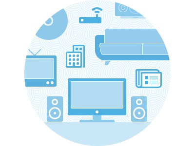 Music things music couch tv speakers illustration